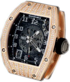 RM 010 Skeletonized Automatic Rose Gold diamond be Richard Mille Mens collectoin RM 001-050