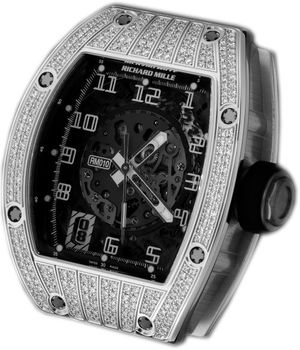 RM 010 Skeletonized Automatic White Gold  diamond  Richard Mille Mens collectoin RM 001-050