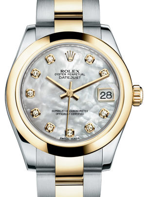 Rolex Datejust 31 178243 White mother-of-pearl diamond dial Oyster