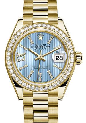 279138RBR Cornflower blue set with diamonds Rolex Lady-Datejust 28