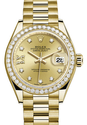 Rolex Lady-Datejust 28 279138RBR Champagne set with diamonds