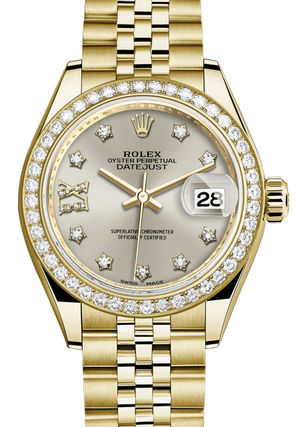 Rolex Lady-Datejust 28 279138RBR Silver set with diamonds