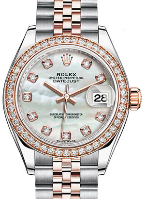 Rolex Lady-Datejust 28 279381RBR White mother-of-pearl set with diamonds