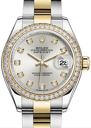 Rolex Lady-Datejust 28 279383RBR Silver set with diamonds dial