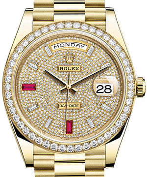 228348RBR Paved with diamonds and rubies Rolex Day-Date 40