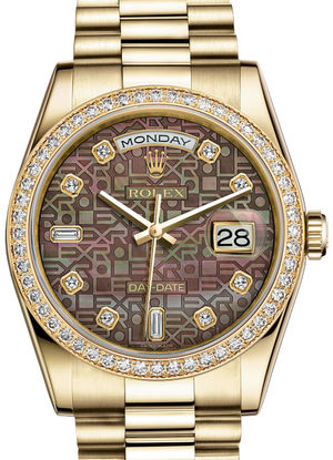 Rolex Day-Date 36 118348 Black mother-of-pearl Jubilee design set wi
