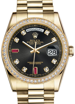 Rolex Day-Date 36 118348 Black set with diamonds and rubies