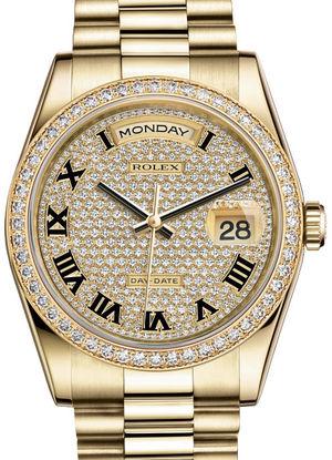 Rolex Day-Date 36 118348 Diamond-paved Roman dial