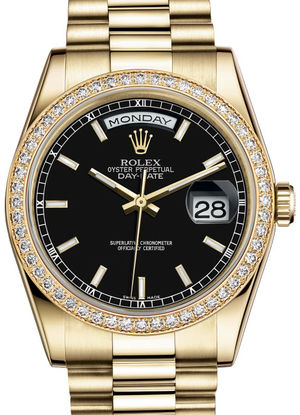 Rolex Day-Date 36 118348 Black hour markers dial