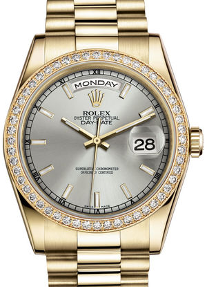 Rolex Day-Date 36 118348 Silver hour markers dial