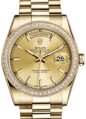 Rolex Day-Date 36 118348 Champagne hour markers dial