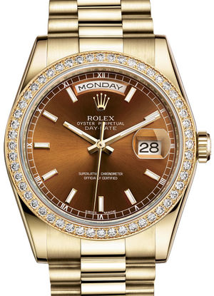 Rolex Day-Date 36 118348 Cognac hour markers dial