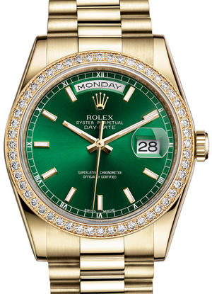 Rolex Day-Date 36 118348 Green hour markers dial