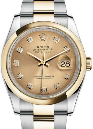 116203 Champagne set with diamonds Oyster Bracalet Rolex Datejust 36