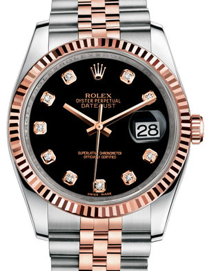 Rolex Datejust 36 116231 Black set with diamonds Jubilee