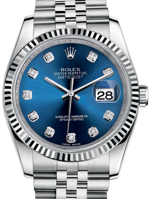 Rolex Datejust 36 116234 Blue set with diamonds Jublilee Bracelet