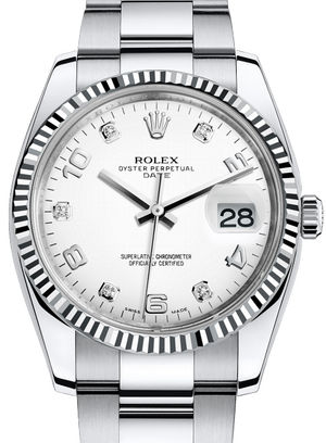 115234 White dial five diamond Rolex Oyster Perpetual