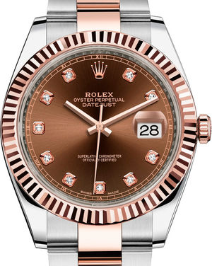 126331 Chocolate set with diamonds Oyster Bracelet Rolex Datejust 41