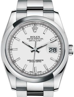 116200 White index Oyster Bracelet Rolex Datejust 36