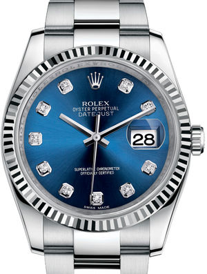 Rolex Datejust 36 116234 Blue set with diamonds Oyster Bracelet