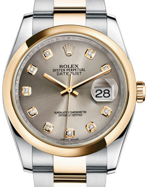 116203 Steel set with diamonds Oyster Bracelet Rolex Datejust 36