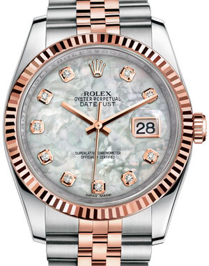 116231 White mother-of-pearl set with diamonds JB Rolex Datejust 36