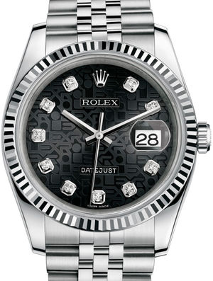 Rolex Datejust 36 116234 Black Jubilee diamonds Jubilee Bracelet