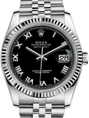 116234 Black Roman Jubilee Bracelet Rolex Datejust 36