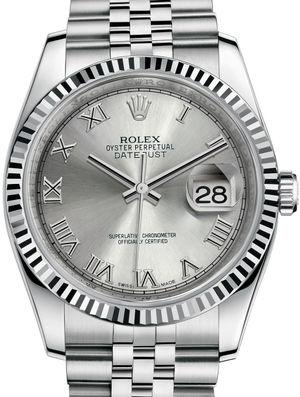 Rolex Datejust 36 116234 Rhodium Roman Jubilee Bracelet