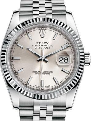 116234 Silver index Jubilee Bracelet Rolex Datejust 36