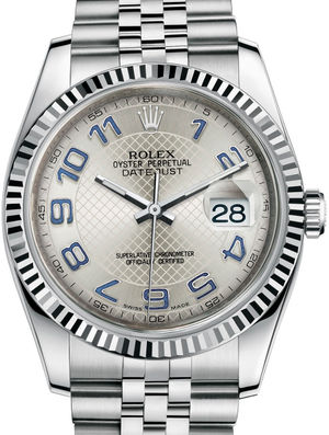 Rolex Datejust 36 116234 Silver decorated blue Arabic Jubilee Bracel