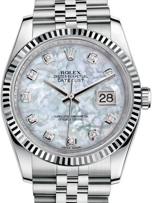 116234 White mother-of-pearl diamonds Jubliee Rolex Datejust 36