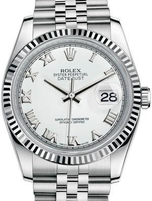 116234 White Roman Jubilee Bracelet Rolex Datejust 36