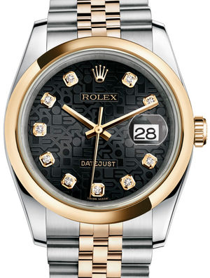 Rolex Datejust 36 116203 Black Jubilee design diamonds Jubilee