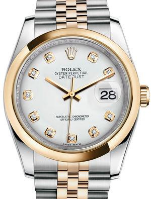 116203 White set with diamonds Jubilee Bracelet Rolex Datejust 36