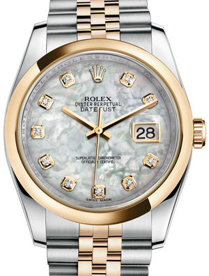 116203 White mother-of-pearl set with diamonds JB Rolex Datejust 36