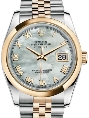 116203 White mother-of-pearl Roman JB Rolex Datejust 36