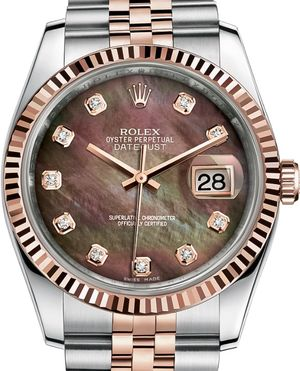 116231 Black mother-of-pearl set with diamonds JB Rolex Datejust 36