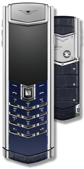 Signature Navy Alligator Stainless Steel Vertu Signature