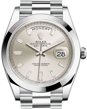 Rolex Day-Date 40 228206 Silver set with diamonds