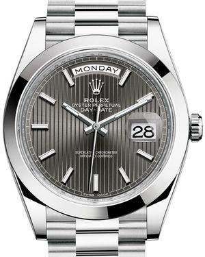 Rolex Day-Date 40 228206 Dark rhodium stripe motif