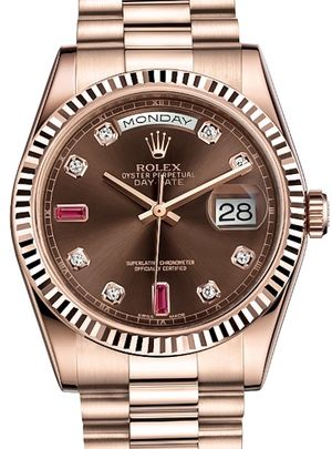 Rolex Day-Date 36 118235F Chocolate set with diamonds and rubies