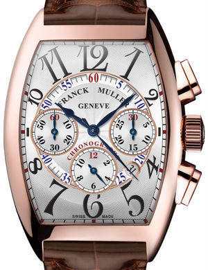 Franck Muller Cintree Curvex Chronograph 8880 CC AT Rose Gold Brown Leather Strap