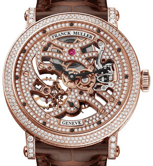 7042 B S6 SQT D MVT D Rose Gold Brown Leather Stra Franck Muller Round collection