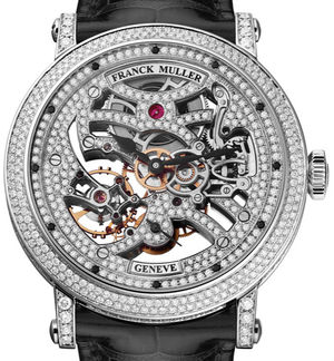 7042 B S6 SQT D MVT D White Gold Black Leather Str Franck Muller Round collection