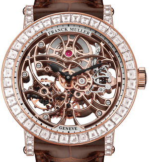 7042 B S6 SQT BAG Rose Gold Brown Leather Strap Franck Muller Round collection