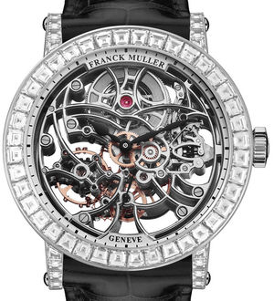 7042 B S6 SQT BAG White Gold Black Leather Strap Franck Muller Round collection