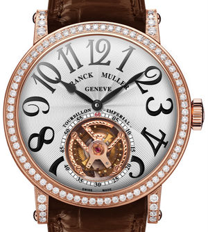 7008 T D Rose Gold Brown Leather Strap Franck Muller Round collection