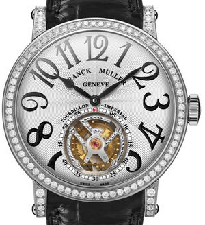 7008 T D White Gold Black Leather Strap Franck Muller Round collection
