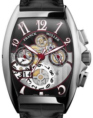 Franck Muller Cintree Curvex Chronograph 8083 CC GD SQT OG N White Gold Black Leather Strap
